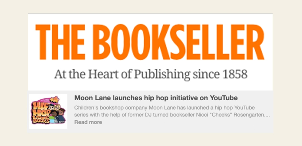 Moon Lane HipHop Love Books featured in The Bookseller